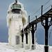 """Frozen Light"" St. Joseph Northpier Lighthouse, St. Joseph, Michigan"