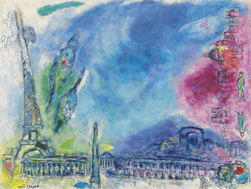 C marc chagall paysage de paris 1968 for Paris paysage