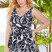 Flattering Wild Orchid Plus Size V-Neck Swimdress by Beach Belle®