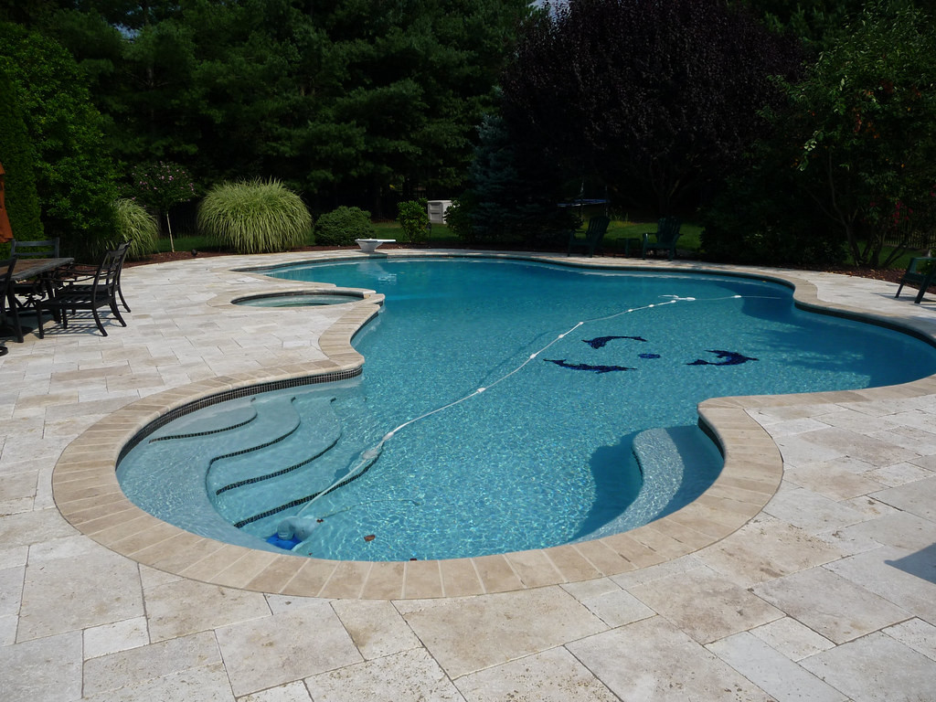 Luxury custom free form swimming pool design and hot tub for Pool design with hot tub
