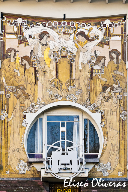 art nouveau mural photography of a superb example of art