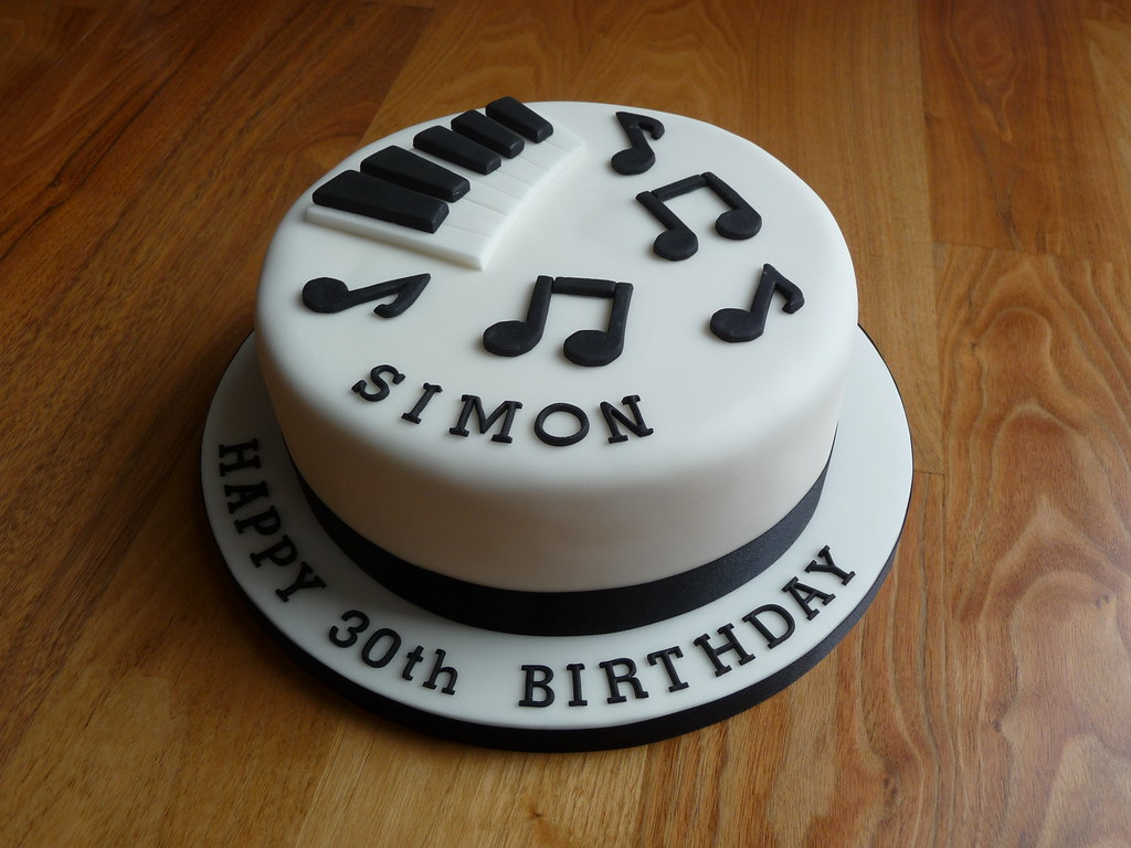 Piano themed 30th Birthday Cake The customer wanted a ...