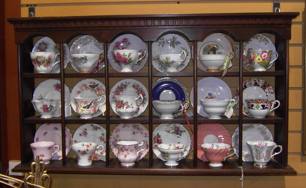 Tea cup and saucer display case at the Hwy 400 Flea and An… | Flickr