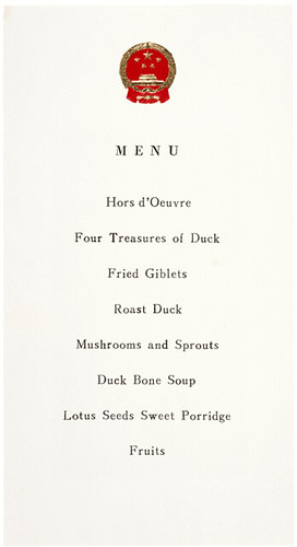 Menu from Dinner Given During President Nixon's Visit to Peking, China, 02/25/1972 | by The U.S. National Archives