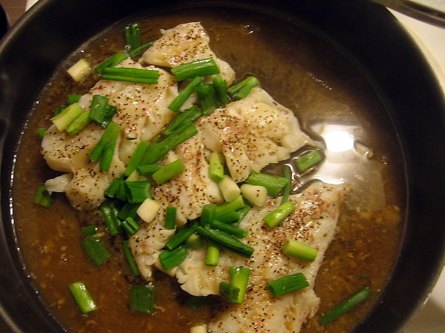 Cod steamed with ginger and scallions