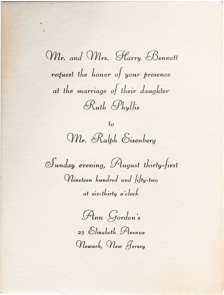 Mr And Mrs Harry Bennett Request The Honor Of Your Prese
