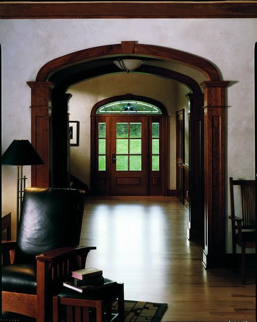 Rectangular straightline architectural entranceways for Andersen windows art glass