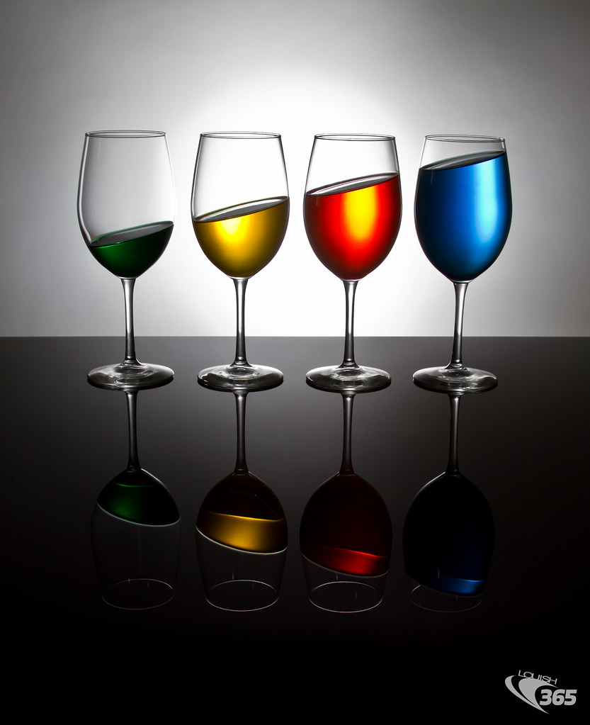 Tilted Colored Wine Glasses 091/365
