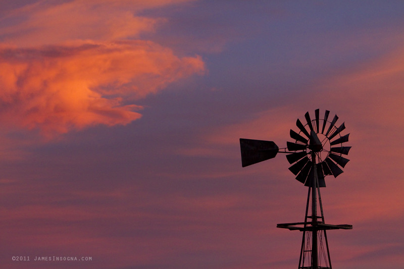 Old American Farm Windmill with a Sunset   A Beautiful old ...