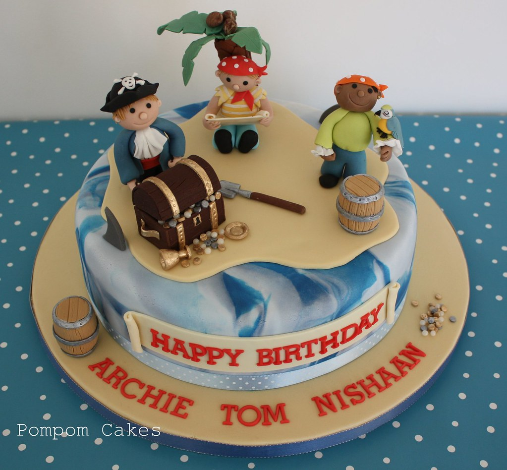 Pirate cake A 6th birthday cake for three little boys ...