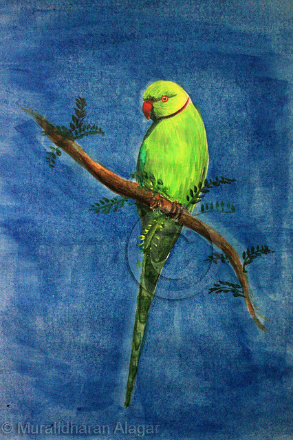 Green parrot painting - photo#8