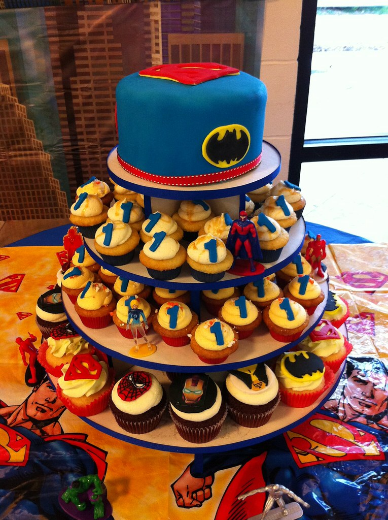 Super Hero Cupcake Tower For 1st Birthday Www