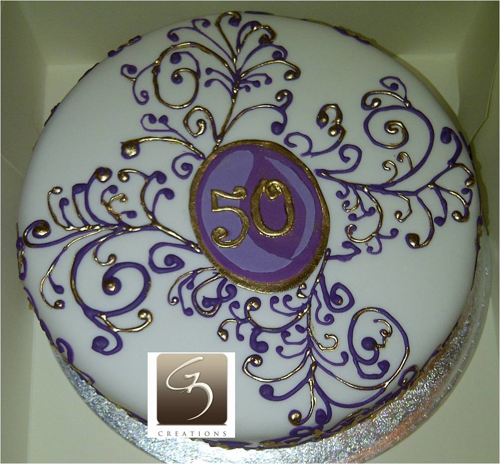 50th Birthday Cake Purple And Gold Themed Double