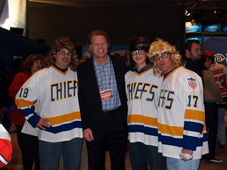 Brian Engblom with the Hanson Brothers -- I don't know whose hair is more ridiculous! | by RangerRick