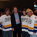 Brian Engblom with the Hanson Brothers -- I don't know whose hair is more ridiculous!