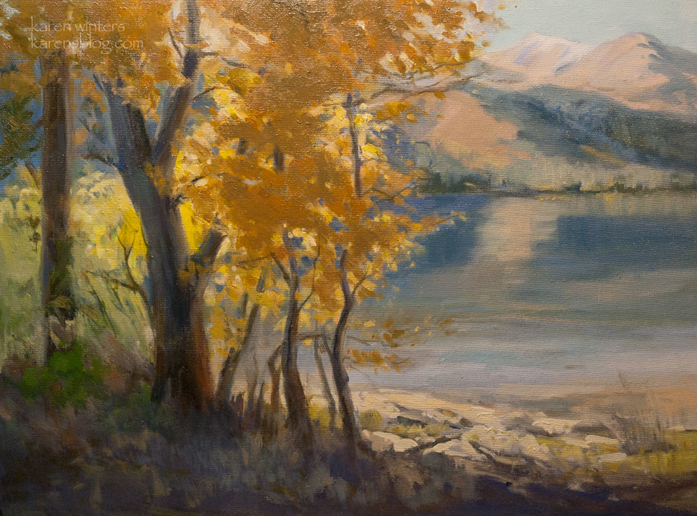 Twin lakes landscape oil painting bridgeport california for Sierra fish in english