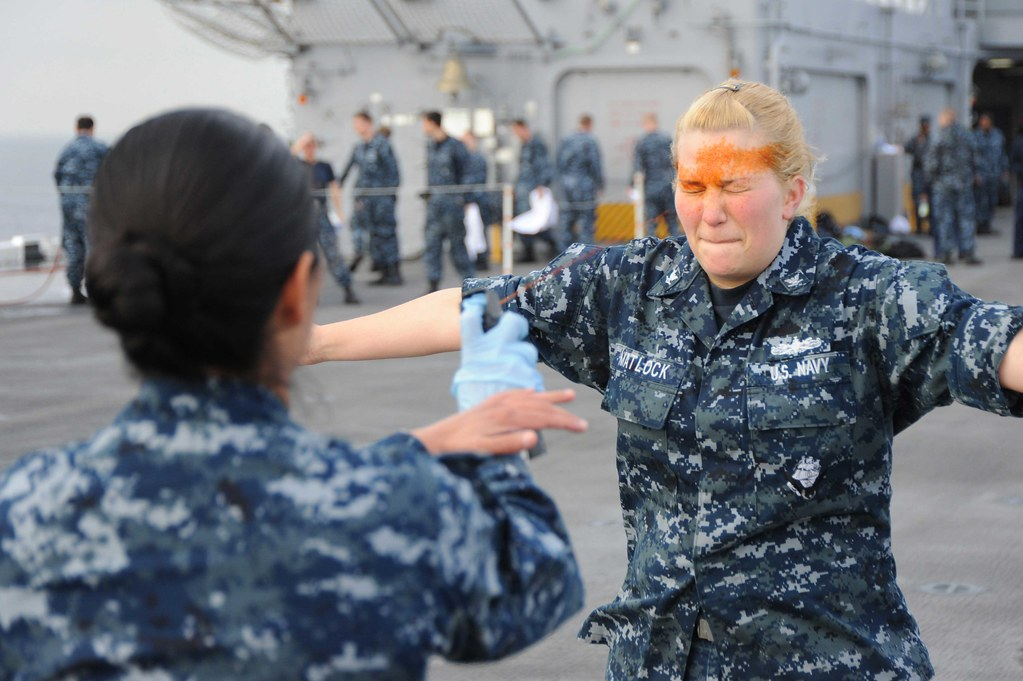 Sailor Receives Pepper Spray Training Pacific Ocean
