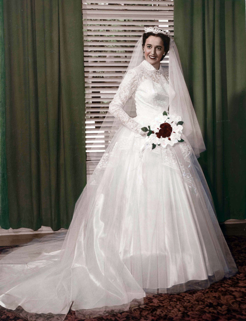 1940s Hand Tinted Photo Of A Bride By Strands Studio Of Ru