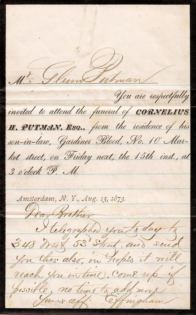 Funeral Invitation and Letter 1873 Mr Glenn Putman Yo – Memorial Service Invitation Sample