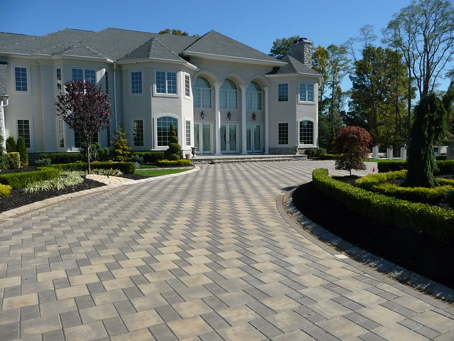 Custom front yard landscaping and driveway pavers flickr for Unique front yard landscaping ideas