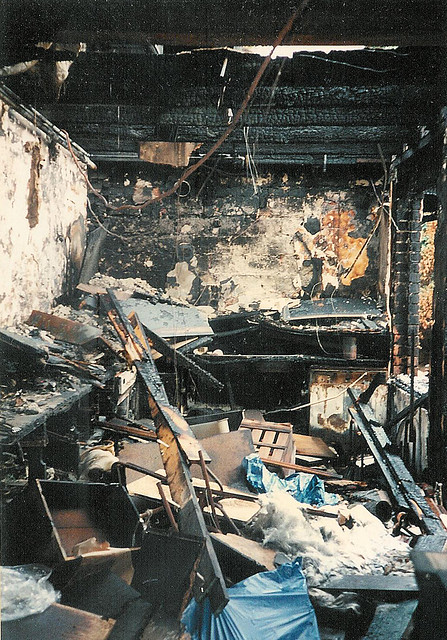 The newly kitchen burned down before it was finished...