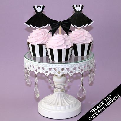 Printable Black Tie Party Dress Cupcake Topppers | Black Tie ...