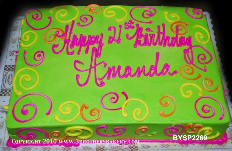 Birthday Cakes With Neon Pink Purple Green And Black