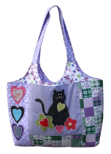 Bolsa de tecido em patchwork com aplica o de gatinho flor - Bolsas para flash ...