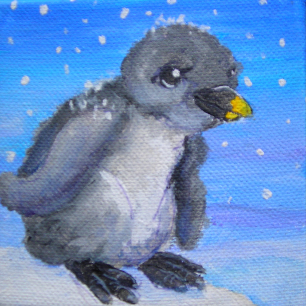 "Baby Rockhopper Penguin | Part of a series of 4"" x 4 ..."