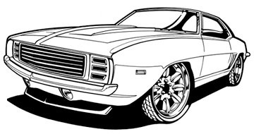 Camaro Line Art Hand Drawn And Inked Scanned High Res