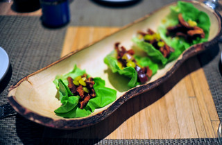 2nd Course: Spicy Pig Ear Lettuce Wraps | by ulterior epicure