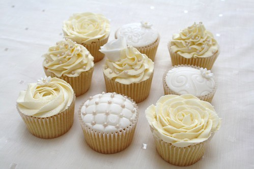 Sample wedding cupcakes - theme... ivory, roses, pearls | by Baked by Becky
