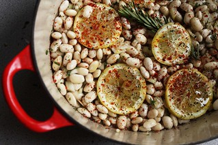 beans, lemon, and herbs ready for baking | by Kim | Affairs of Living