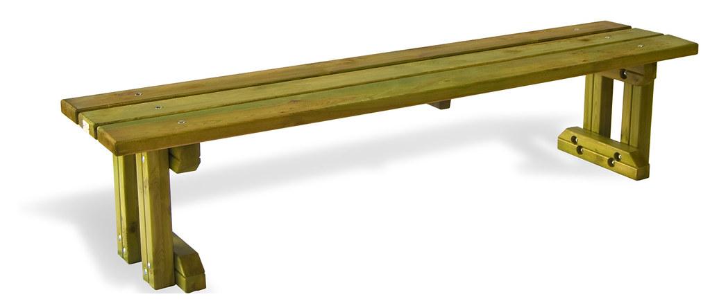 Banco sin respaldo de madera de pino de suecia r stico flickr - Banco madera exterior ...