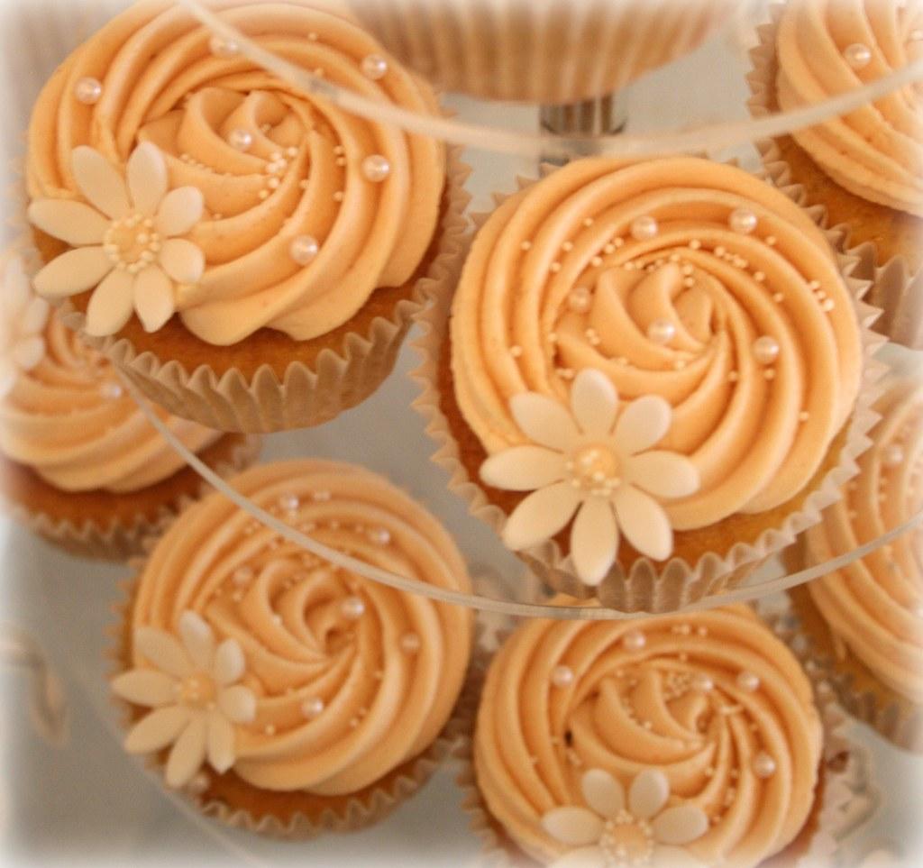 Peach Wedding Cupcakes