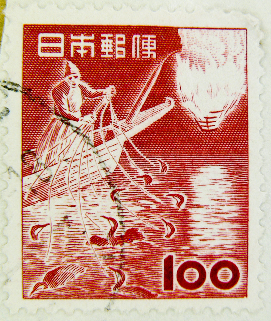 stamp nippon 100 y yen japan timbre japon postage 100 red