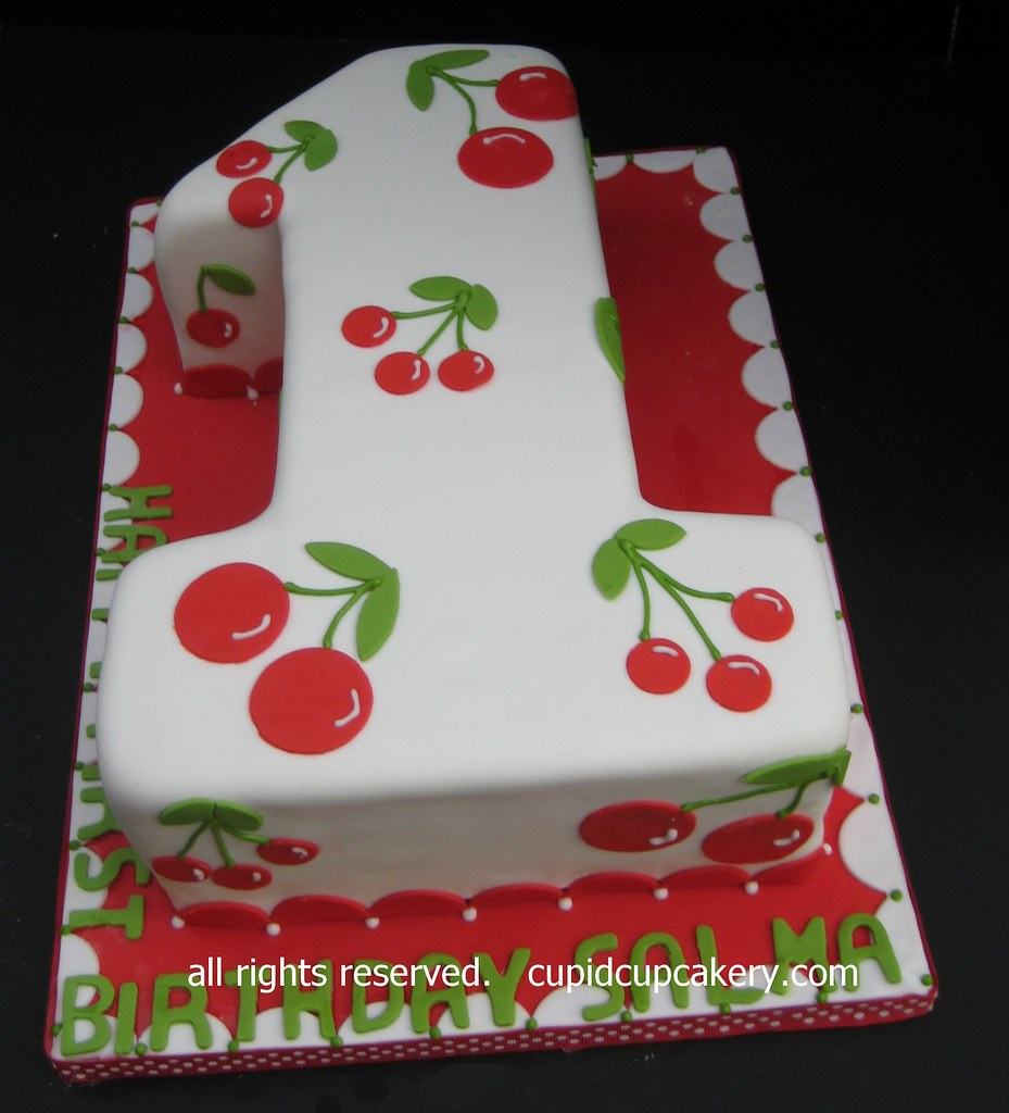 Cherry Theme Number 1 Birthday Cake By Cupid Cupcakery