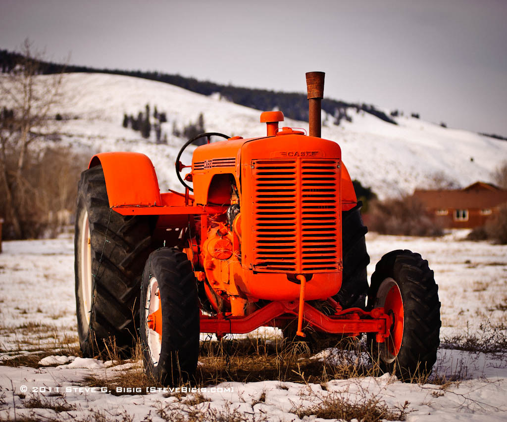 Old Case Tractor : Old case tractor in the snow while out and about
