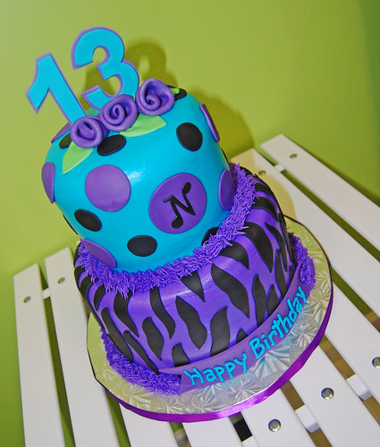 Purple, Turquoise And Black Zebra Print 13th Birthday Cake