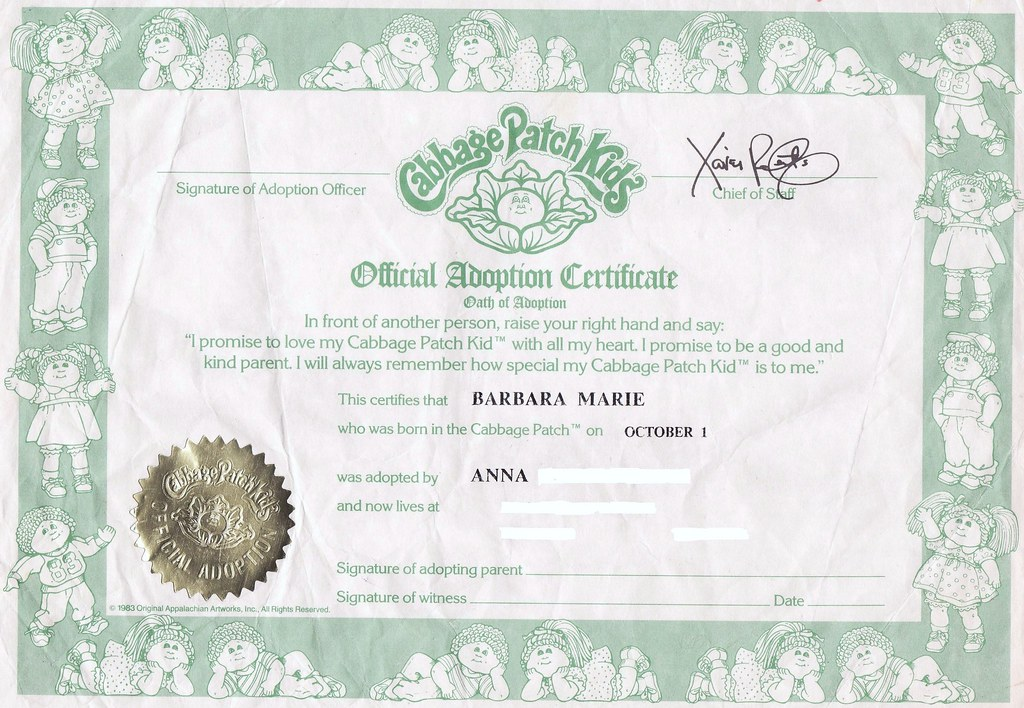 Cabbage Patch Kids Official Adoption Certificate, 1985 ...
