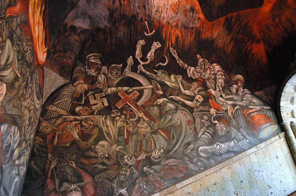 Nazi clowns of war in hell fighting over politics philoso for El mural guadalajara jalisco