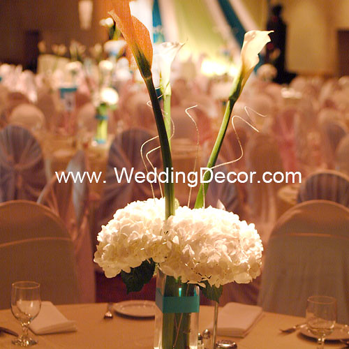 Wedding centerpiece hydrangea calla lilies a