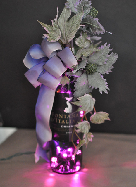 Purple lighted wine bottle d cor flickr photo sharing for How to decorate a wine bottle for a gift