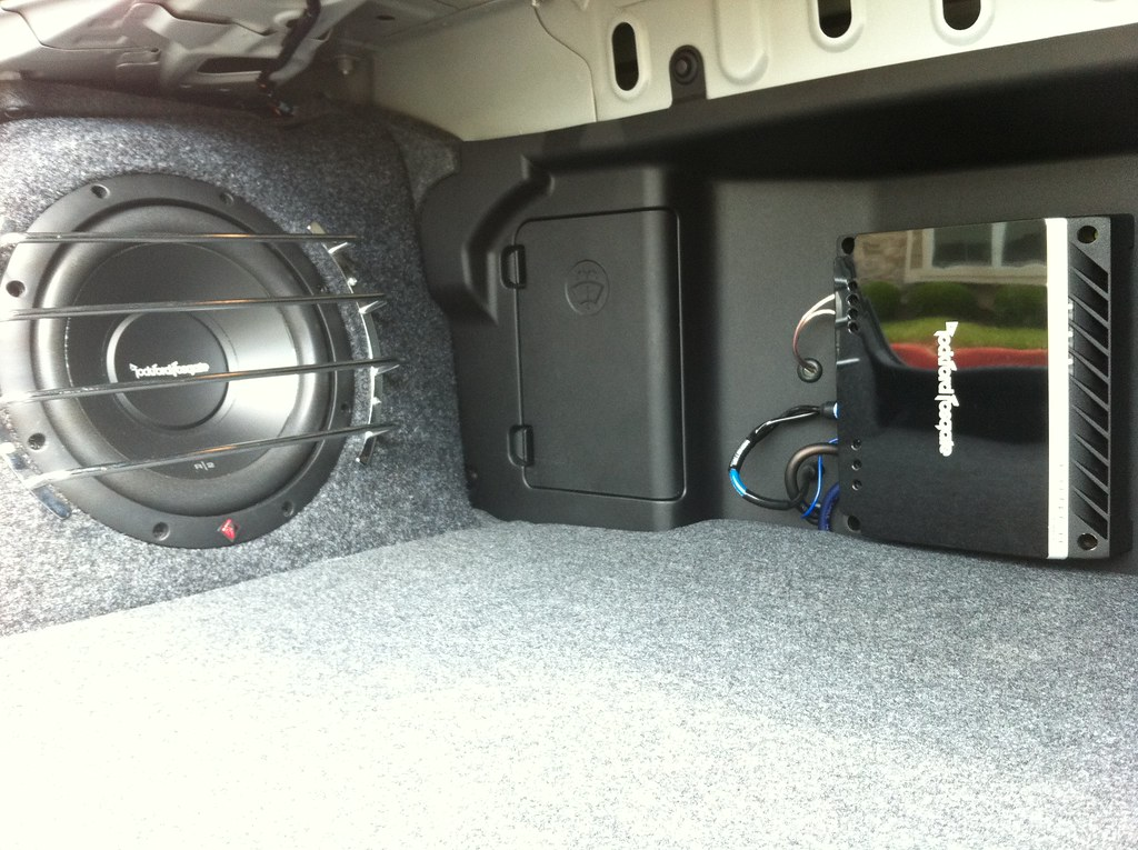evo x amp sub install amp installation shot with car audio flickr. Black Bedroom Furniture Sets. Home Design Ideas