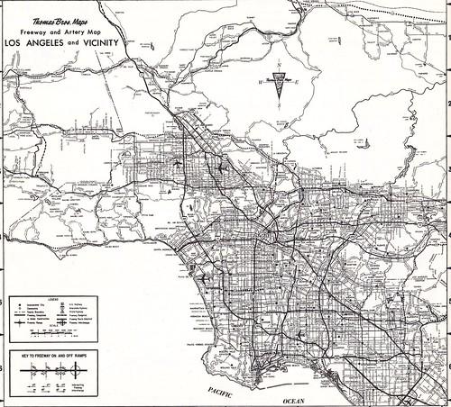Thomas Bros Map Circa 1968 Los Angeles Metro Freeway Map