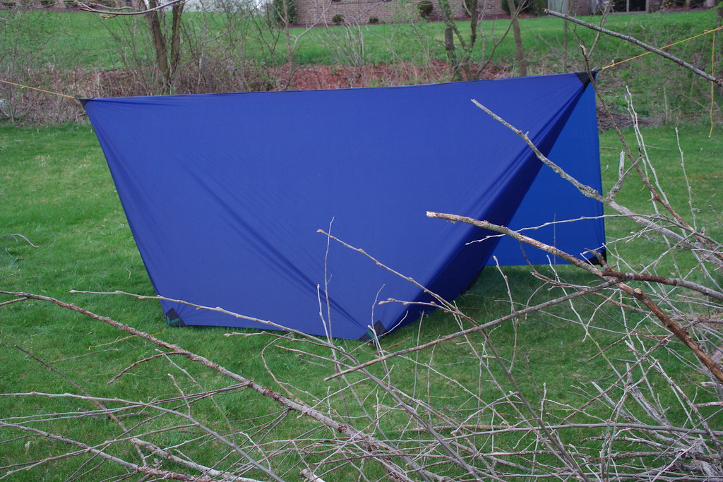 diy tarp tent: 3 sides | pointed into the wind it seems ...