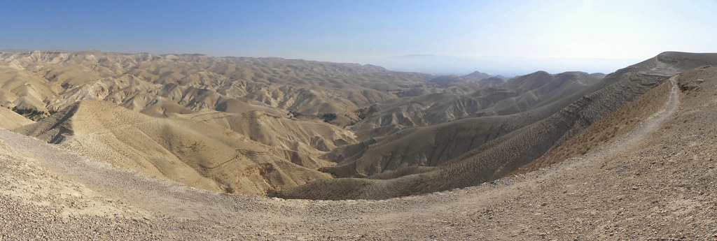 panorama of the judean wilderness