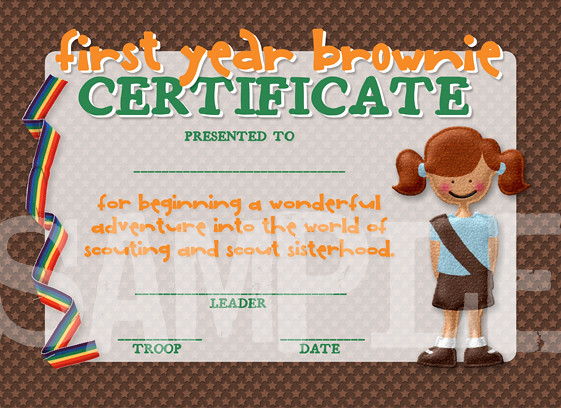 Girl Scouts First Year Brownie Completetion Award Certific ...