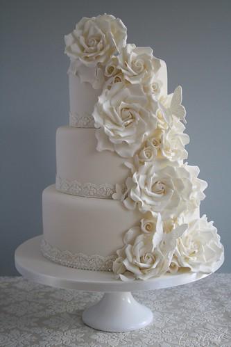 Wedding Cake  Tier White Roses Cascading