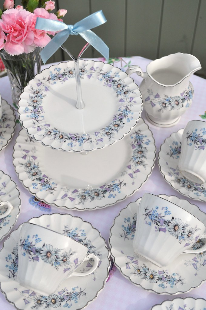 Silver And Blue Vintage Tea Set And Cake Stand A Pretty